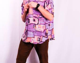 VINTAGE Jazzy Pink and Purple Hawaiian