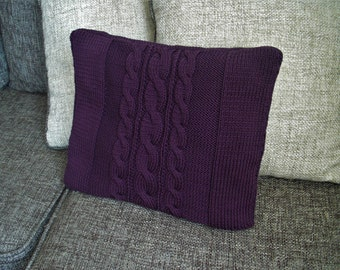 Knit pillow cable knit pillow decorative cushion cable knit cushion purple pillow square knit pillow home decor