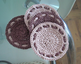 Crochet coasters Drink coasters Round drink coasters set of four coasters crochet home decor handmade decor