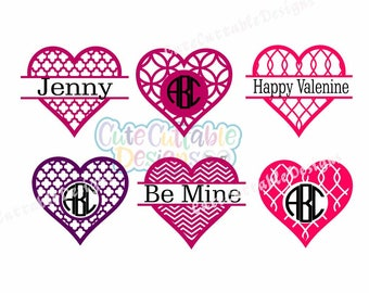 Valentine day SVG, Hearts SVG Cut files, Hearts Monogram Frame SVG Cut Files for Cricut, Silhouette, Svg, Eps, Dxf, Printable