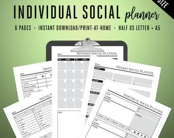 Mini Daily Planner Printable Instagram Facebook Printable A5 Planner Inserts, Social Media Planning Pages, Social Media Planner A5 Inserts