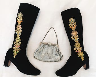 Vintage 70s Embroidered Black Velvet Flower Child Boots Gold Multicolor Embroidery Knee High Tall Boots Fall Winter Hippie Boho Gypsy Style