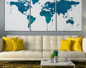 Large Wall Art World Map Canvas Print