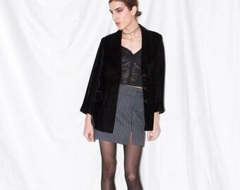 Vintage Black Velvet Blazer Boxy Fit
