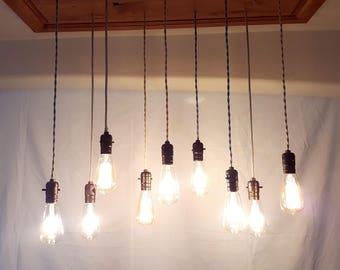 11 pendant light-Reclaimed Wood Chandelier-Rustic home decor-Industrial lighting-vintage light fixture-Farmhouse light-kitchen island light