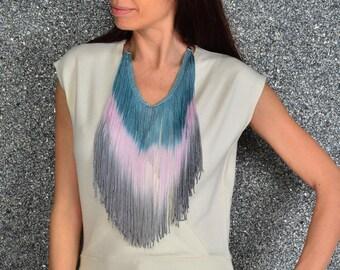 Colourful Fringe necklace, Burning man necklace, Long necklace, Fringe jewellery, Ombre necklace, tribal necklace, tribal jewelry, tribal