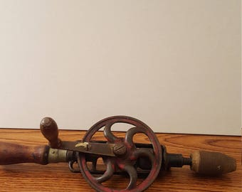 Vintage Egg Beater Style Hand Drill (c. Early to Mid 20th Century)