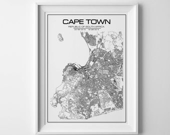 Cape Town Map Print, South Africa poster, city map art, city poster, Cape Town poster, Cape Town print, city print, wall art, map of Africa