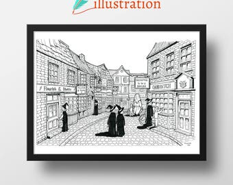 Diagon Alley Ink Illustration Print