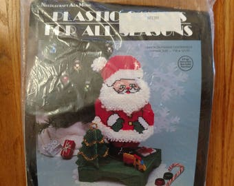"Santa Claus Centerpiece by Needlecraft Ala Mode 1991 Christmas Plastic Canvas Kit  - Approx 7"" W by 12 1/2"" H"