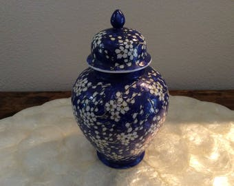 Cobalt Blue Vintage Chinese Porcelain Ginger Jar