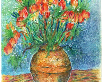 """Poppies in a Vase - 11""""x14"""""""