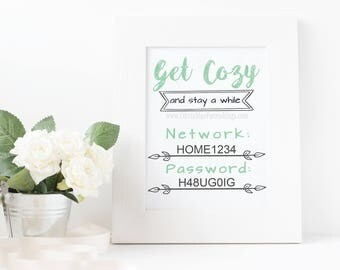 Get Cozy WiFi Password Printable - INSTANT DOWNLOAD Printable - Digital File ONLY | Guest Room Decor | Internet Password |