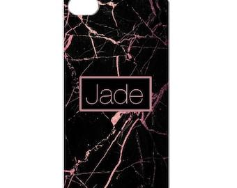Personalised Marble phone case - BlackRose Gold marble, name, initials, phone gift, phone case, iphone case, personalized phone cover