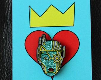 Cyborg Lady Head Pin