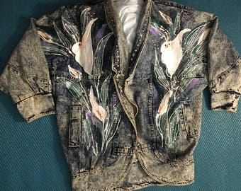 Acid Washed  Jean Jacket w/Elaborate Hand Painted Detail Size 2XL