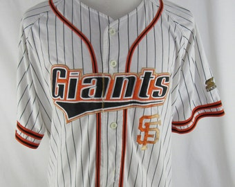 Vintage 90s San Francisco Giants Barry Bonds Pinstripe Starter Jersey Size XXL