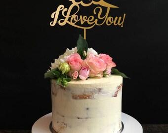 Hey... I Love You Wedding Cake Topper, Wedding Cake Topper, Gold Cake Topper, Wedding and anniversary Cake Topper