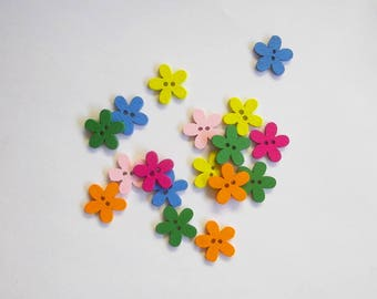 Flower buttons, set of 10 colorful wooden buttons, sewing supplies
