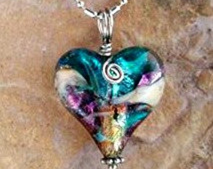 All My Love, Memorial Heart Necklace, Ashes in Glass, Pet Memorials, Cremation Jewelry