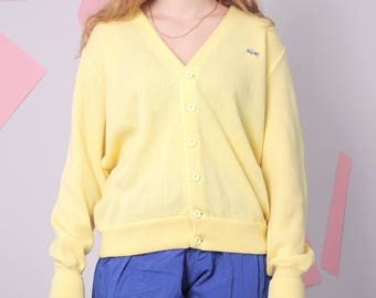 vintage lacoste cardigan, button up yellow sweater, slouchy oversized cardigan, knitted minimal sweater