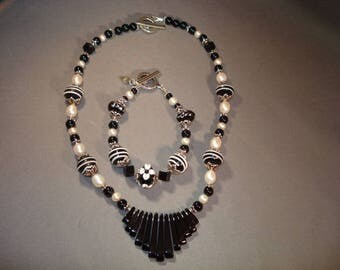 Black Onyx with Pearls and Lampwork Beaded Necklace