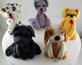 Fondant dog puppy cake toppers edible - Various