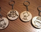 Minions - Kevin, Bob, Purple Minion, Dave, handmade Laser engraved wooden keyring with chain - Despicable me 3