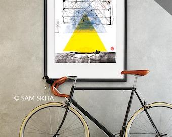 Abstract Painting yellow triangle ORIGINAL geometric хоме wall art graphics mixed media contemporary modern art Home art decor