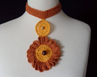 Plastron necklace Big Sizes for This Fall, Yellow and brown cotton yarns