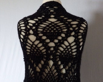 """Black crocheted Shawl """"Pineapple"""", black and silver wool"""