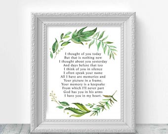 "Loving Memory Sign, Wedding Memory Table Sign, ""I thought of you today"" Memorial Sign, Rememberance Sign,Instant Download,Julieth Collection"