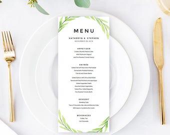 Greenery Wedding Menu Template, Printable Editable Watercolor Wedding Menu Cards, A4 & US Letter Wedding Menu PDF Template Instant Download.