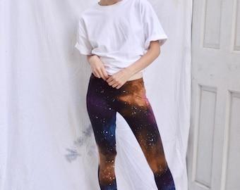 Galaxy Leggings - Handmade, Hand Painted, Cosmic Pattern