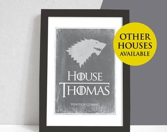 Personalised Game of Thrones Family House Print, Birthday Gift, Home Print, House Stark Winter is Coming Targaryen A4 Bespoke Christmas Gift