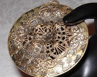 Victorian Pendant late 1800s Filigree Bronze/Brass Beautiful!