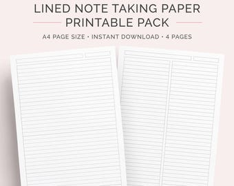 Lined Paper Student Note Taking Printable Set | A4