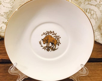 Taylor and Kent China Saucer - Gold Bull - White - Made In England