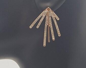Rose gold Pave Burst Earrings