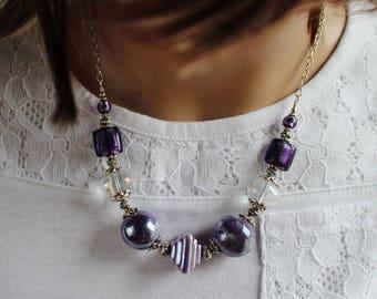PURPLE MAUVE JEWELRY, Purple Necklace, Purple Pendant Necklace, Chain Necklace, Purple Boho Necklace, Handmade Jewelry, Gift for Her