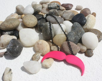Pink Mustache necklace