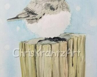Dark eyed Junco on post 6x9 inch Original  Watercolor wildlife winter birding Outdoor Decor