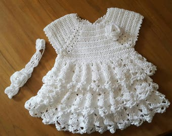 Pretty dress and white beaded cotton headband 3 months