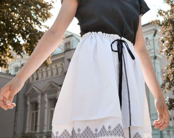 Cotton White Skirt Embroidery Skirt Handcrafted Skirt Embroidery Clothing Mini Skirt Spring Summer Skirt Ecofriendly Skirt Limited Edition