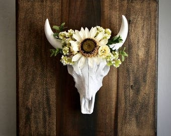 Faux Mounted Cow Skull, With or Without Flower Crown, Customizable