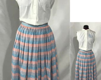1940-1950's | Vintage Skirt | handmade striped
