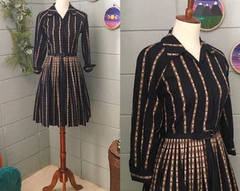 3/4 Sleeve 1950's Fit and Flare House Dress