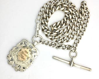 Antique Victorian 1901 Silver and Rose Gold Albert Watch Fob Chain with T Bar - Necklace or Bracelet