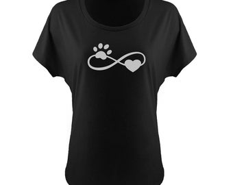 Infinity Puppy Love off the Shoulder T-shirt, Infinity Puppy Love Slouchy T-shirt