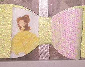 Disney belle inspired girls hair bow, beauty and the beast, girls hair bow, fringe clip, glitter bow
